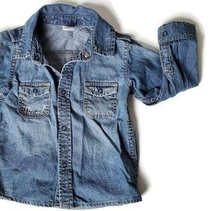 H&M Boy's Size 12-18 MTH Denim Button Down Shirt
